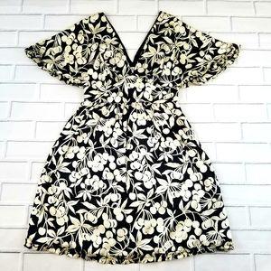 Tibi Cherry Print Empire Waist Silk Dress